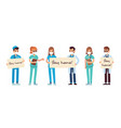 doctor and nurses with stay home placards vector image