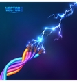 Electric lightning between colored cables vector image vector image
