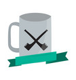empty coffee mug with smoking pipes icon vector image