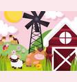 farm animals horses bull goat windmill barn meadow vector image vector image