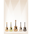 Five Earth Tone Guitars on Brown Stage Background vector image vector image