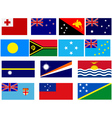 Flags of countries in Oceania vector image