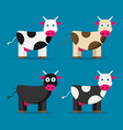 flat funny cow set vector image