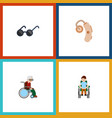 flat icon handicapped set of audiology wheelchair