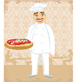 funny chef serves pizza in a restaurant vector image