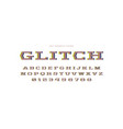 geometric slab serif font with glitch distortion vector image