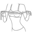 girl measuring size her chest vector image vector image