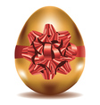 Golden Egg with Bow vector image vector image