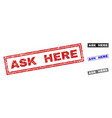 grunge ask here scratched rectangle watermarks vector image vector image