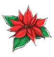 Hand drawn Poinsettia Christmas Star vector image