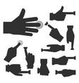hand press button silhouette finger control vector image