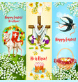 happy easter he is risen festive banner set vector image vector image