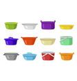 home plastic dish pan basin bright set vector image vector image