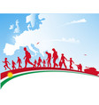 immigration people with kurdistan flag on europe vector image