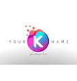 k dots letter logo with bubbles a letter design vector image vector image