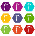 kama weapon icon set color hexahedron vector image vector image