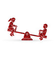 little boy and girl are playing seesaw together vector image vector image