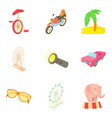 locale icons set cartoon style vector image vector image