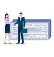 man and woman on business meeting bank paycheck