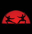 men pose ready to fight kung fu action cartoon vector image