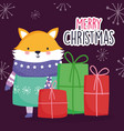 merry christmas celebration cute fox wearing scarf vector image vector image