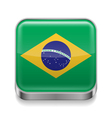 Metal icon of Brazil vector image vector image