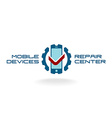 Mobile devices repair service logo template vector image