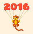 monkey dotted symbol 2016 with balloons vector image vector image