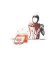 muslim woman happy with gift box concept sketch vector image vector image