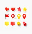 navigation pins hearts speech bubbles isolated on vector image vector image