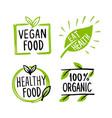 organic labels fresh eco vegetarian emblems and vector image vector image