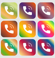 Phone icon sign Nine buttons with bright gradients vector image vector image