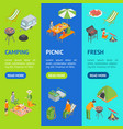 picnic barbecue banner vecrtical set isometric vector image vector image