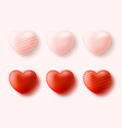 red hearts collection set four realistic vector image vector image