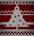 red knitted fabric with a white ornament and fir vector image vector image