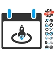Rocket Start Calendar Day Icon With Bonus vector image vector image