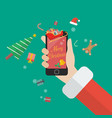 santa claus holding smartphone with merry vector image