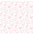 seamless pattern abstract red hearts on a white vector image vector image