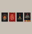 set christmas and new year greeting card vector image