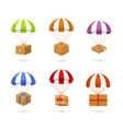 Set of Colorful Parachute Carrying Boxes vector image vector image