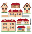 set of houses in retro style vector image vector image