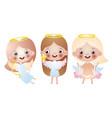 set three cute beautiful angel girls vector image vector image