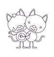 sketch contour caricature with couple of cats vector image vector image
