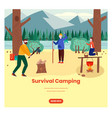 survival camping web banner design template vector image vector image