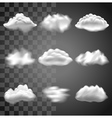 Transparent clouds icons set vector image vector image