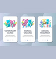 veterinary clinic mobile app onboarding screens vector image vector image