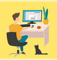 work at home freelancer young man working vector image