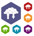 Clouds with arrows icons set vector image
