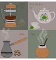 Set of tea and coffee green and herbal tea black vector image