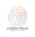 logo icon with brain and fingerprint vector image